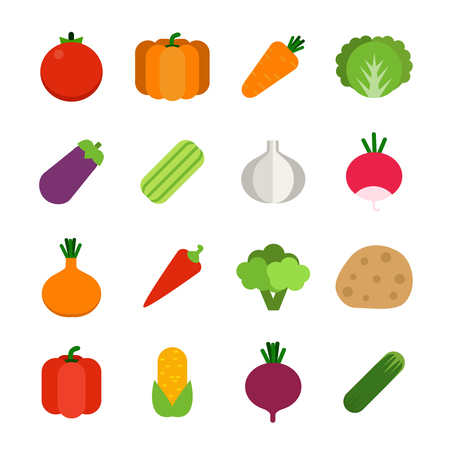 Illustrations of healthy vegetables. Vector icon set in flat style