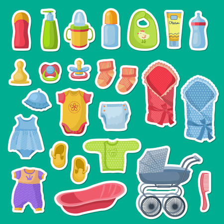 Vector baby accessories stickers isolated on blue background. Illustration of sticker carriage and pacifier, diaper and clothing Ilustração