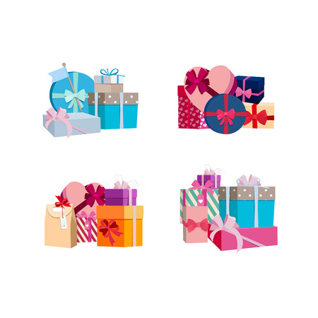 Vector piles of gift boxes and packages set Illustration