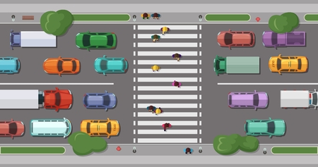 Vector road with cars in front of pedestrian zone with walking people