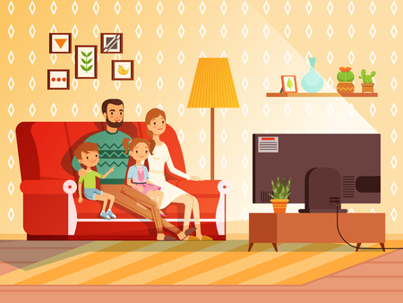 Lifestyle of modern family. Mother, father and children watching tv Vettoriali