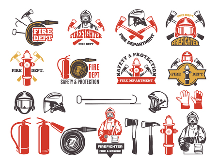 Colored badges for firefighter department. Symbols set of emergency protection isolated on white background.