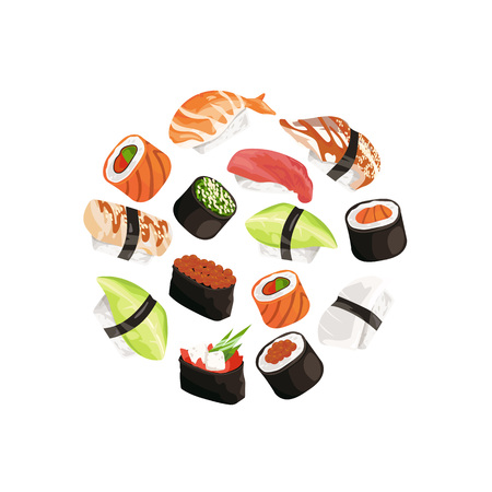Vector cartoon sushi types circle concept illustration