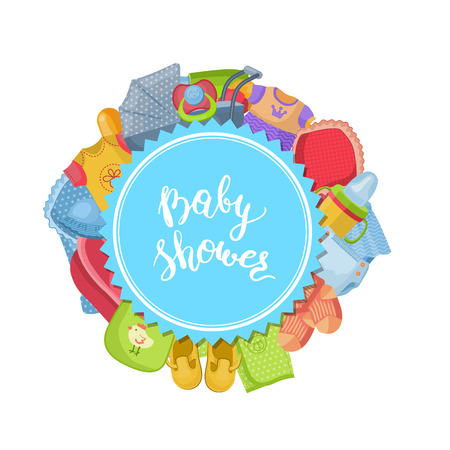 Vector baby shower illustration with baby Illustration