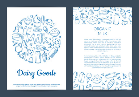 Vector card or flyer template with place for text and hand drawn dairy elements on white background illustration