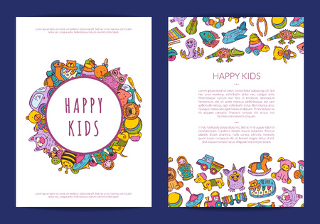 Vector card template with place for text and hand drawn children toys on background illustration