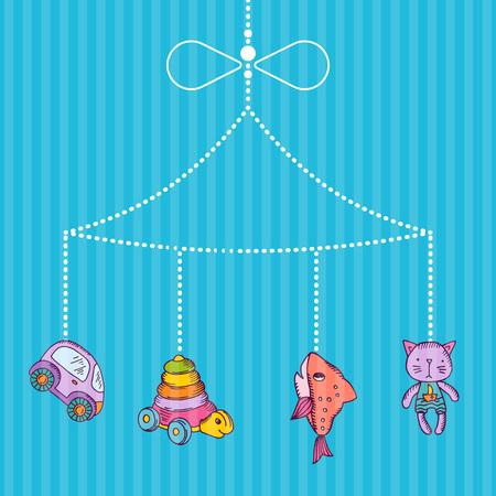 Vector hanging hand drawn kid toys on stripy blue bacgkround illustration Illustration