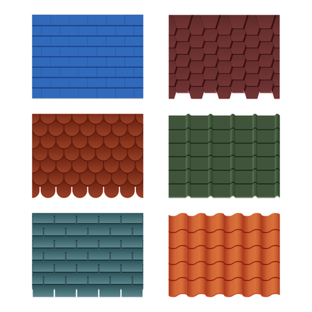 Horizontal pattern of tiles for roofed house. Roof tile row for house construction, vector illustration.