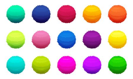 Bolas coloridas peludas. Imagens vetoriais definir ilustração.