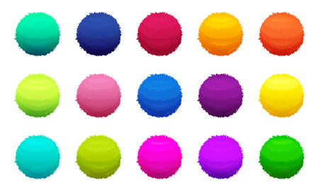 Furry colored balls. Vector pictures set illustration.