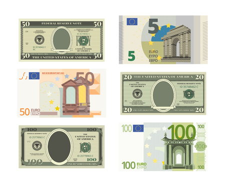 Illustrations of fake dollars and euro. Vector pictures of money banknote of set. Cash bill collection. Ilustração