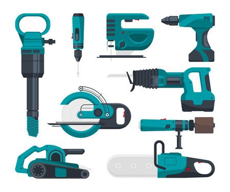 Construction electro tools for repair. Vector pictures in flat style. Screwdriver and equipment drill and power saw electric illustration Illustration