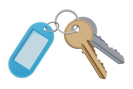 Key and keychain. Vector illustration isolate on white