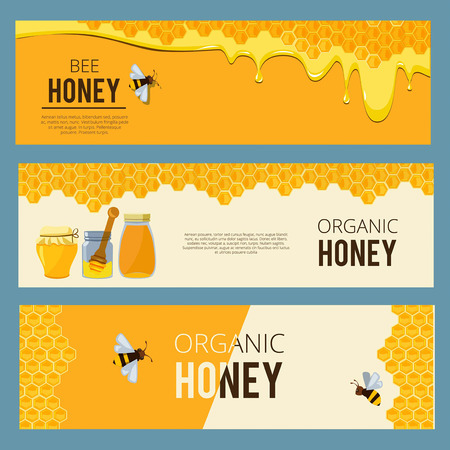 Horizontal banners with pictures set of apiary. Honey, waxing bee and beehive Zdjęcie Seryjne - 94063941