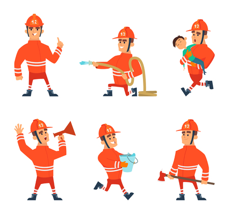Cartoon characters of firefighters in action poses. Vector firefighter emergency, illustration of fireman. Vectores
