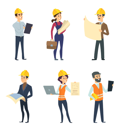 Male and female workers of engineers and other technician professions. Vectores