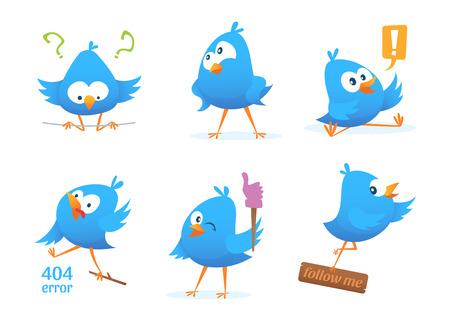 Funny characters of blue birds in action poses illustration. Ilustração Vetorial