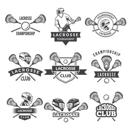 スポーツカレッジのラクロスチームのためのベクトルアイコンやラベル。  イラスト・ベクター素材