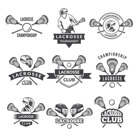Vector icon or labels for lacrosse team in sport college.
