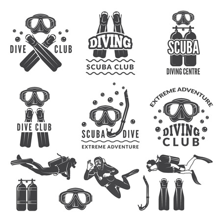 Silhouette of scuba and divers. Labels for sea sport club.