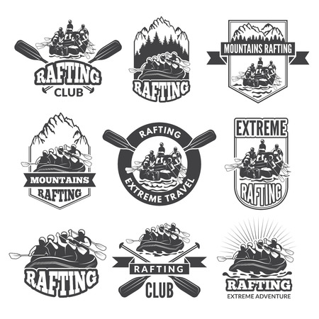 Vintage monochrome labels for dangerous water sports. Symbols of rafting. Pictures of kayak.