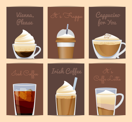 Vector different filled coffee cups card templates with place for text.