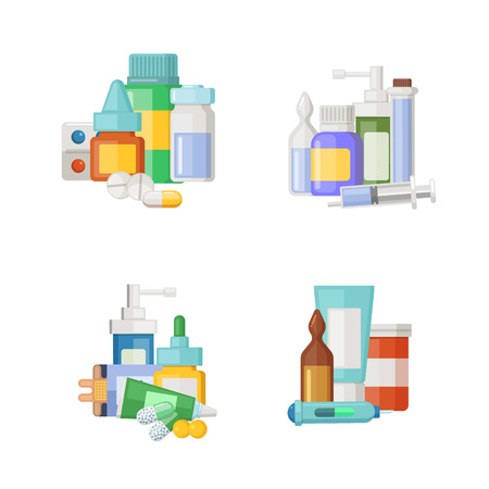 Vector cartoon medicines, potions and pills piles set illustration. Çizim