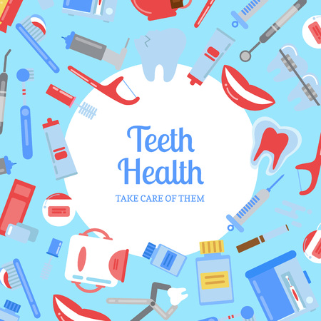 Vector flat style teeth hygiene background illustration with plain circle in center with place for text.