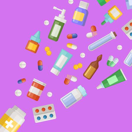 Vector medicines flying from pill bottle
