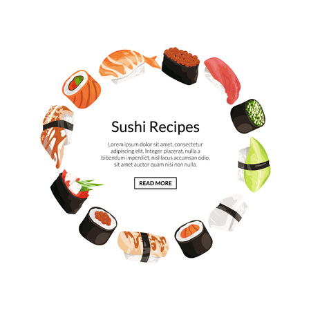 Vector cartoon sushi elements circle concept with place for text in center illustration