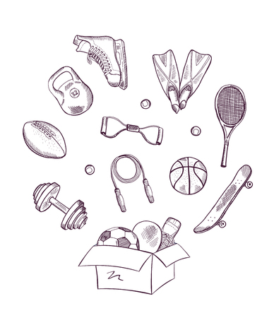 Vector hand drawn sports equipment jumping out of the box concept illustration Illustration