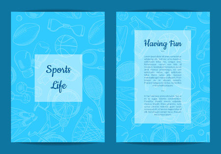 Vector hand drawn sports equipment store or fitness gym card or brochure template with place for text illustration Illustration