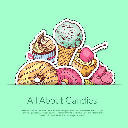 Vector hand drawn sweets in pocket illustration with place for text