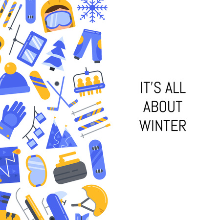 Vector flat style winter sports equipment illustration graphic design