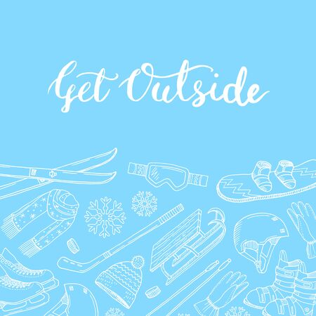 Vector hand drawn winter sports equipment and attributes contoured background with motivational lettering illustration