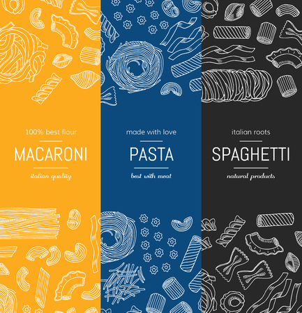 Vector hand drawn pasta types vertical banner templates