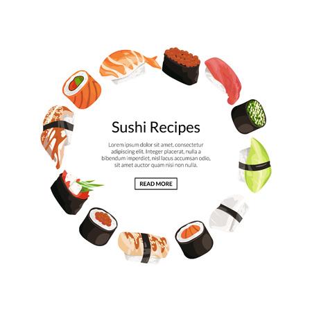 Vecteur sushi de bande dessinée des éléments de cercle notion Banque d'images - 94238140