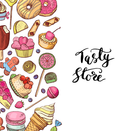 Vector hand drawn colored sweets shop or confectionary Vectores