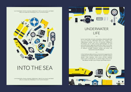 Vector card or brochure template for underwater diving company illustration Vettoriali