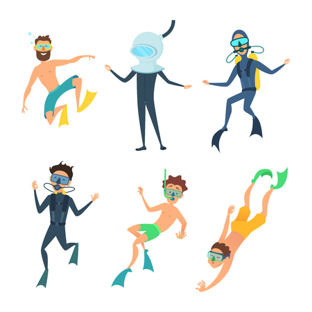 Cartoon illustrations of sea divers funny characters. Diver character male swim underwater vector