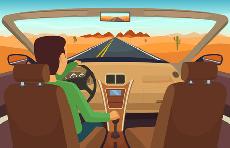 Man driving car. Cabriolet inside transportation, man in vehicle, vector illustration Stock Illustratie