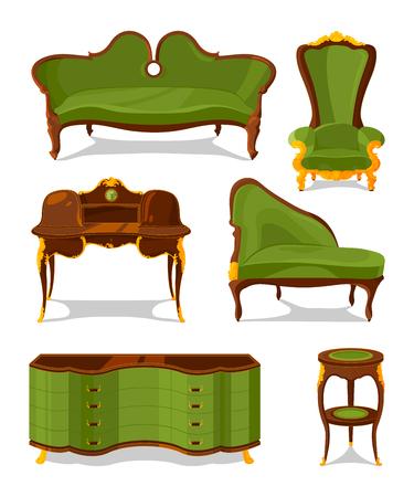 Retro old decorative furniture for living room. Furniture for home interior retro. Vector illustration