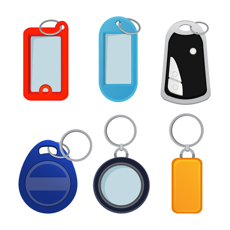 Illustrations of different keychains. Pictures in cartoon style. Trinket for souvenir or home doo key vector Vettoriali