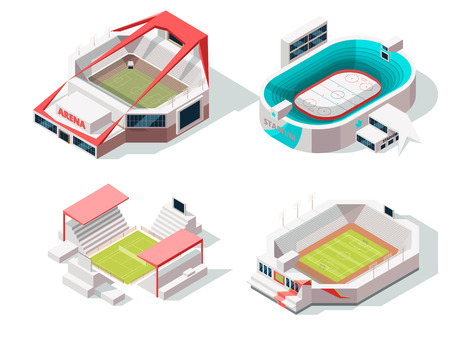 Exterior of stadium buildings hockey, soccer and tennis. Isometric pictures stadium, building sport arena, vector illustration.