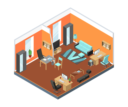 Modern office interior with comfortable workspaces. Tables, armchairs from leather and other furniture in isometric style. Interior room with furniture office. Vector illustration.