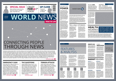 Different articles in newspaper. Vector design template with place for your text. Newspaper article, press page print illustration. Vettoriali