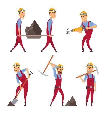 Satz von arbeitenden Menschen . Bergleute in verschiedenen Posen Posen . Vector Arbeiter Charakter Illustration
