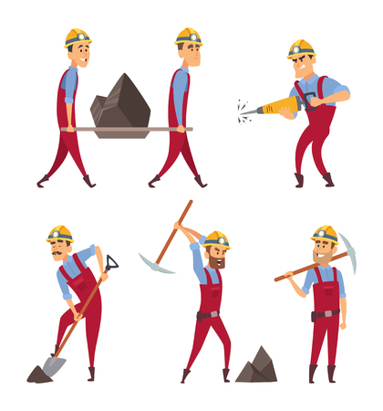 Set of working people. Miners in different action poses. Vector miner worker character illustration.