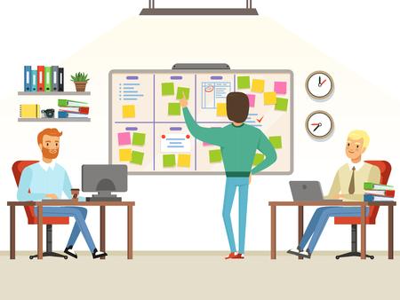 Team leader make planning tasks on the board