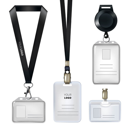 Realistic template of identification card or personal badges